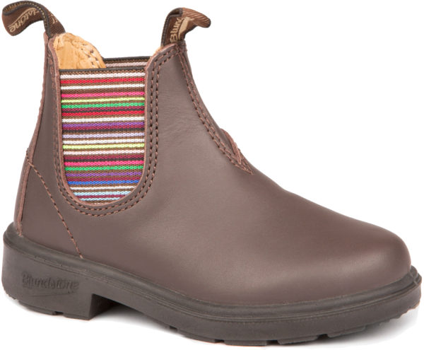 Blundstone 1413 Walnust with Striped Elastic Kids Series