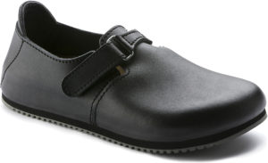 Birkenstock Linz Black Leather Classic Footbed