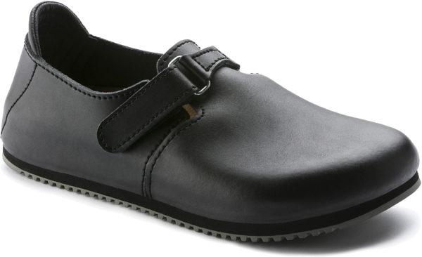 Birkenstock Linz Black Leather Classic Footbed