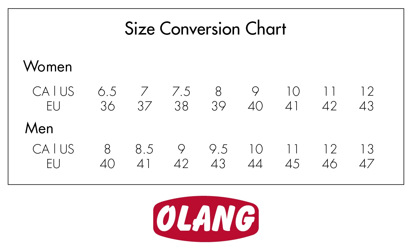 Olang Size Conversion Chart